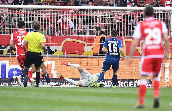 Robert Zulj puts Union Berlin ahead early in the second half.